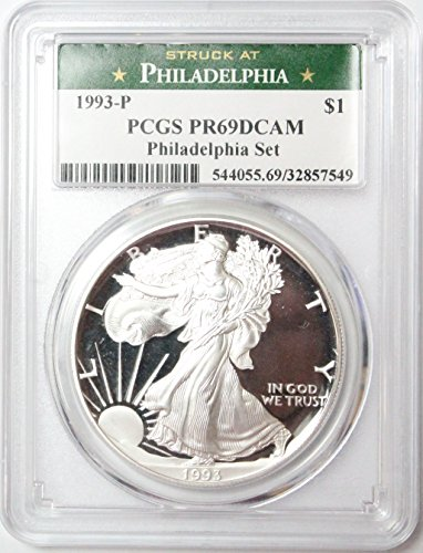1993 P Proof American Silver Eagle from the Philadelphia Set $1 PR69DCAM PCGS ()