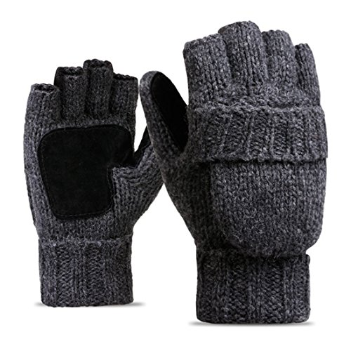HLFaith Men Women Winter Thermal Fingerless Flip Wool Knit Gloves with Mitten Cover - Thicker Warmer and Durable,Dark gray Sheepskin Wool Gloves