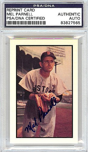 Mel Parnell Signed 1953 Bowman Reprint Trading Card #66 Boston Red Sox - PSA/DNA Authentication - Autographed MLB Baseball Cards