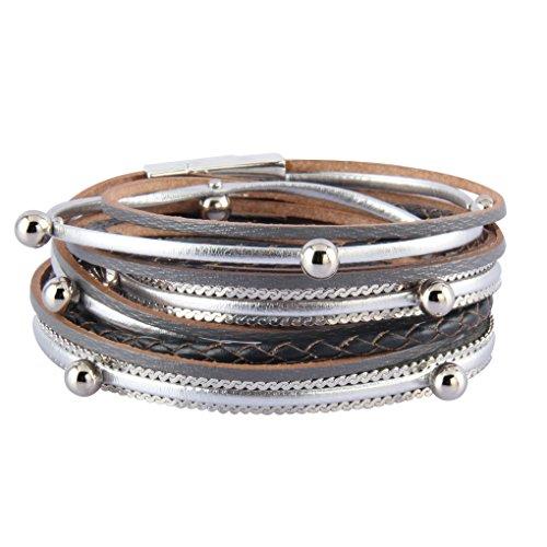 Bfiyi Leather Wrap Bracelet Multilayers Fashion Bangele Silver Beads Stylish Bracelets for Women,girls,kids