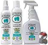# 1 Lice Shampoo & Lice Treatment Kit - LiceLogic Natural, Safe, Hypoallergenic and Instant Head Lice & Nit Treatment Kit - 4 PRODUCTS - FAMILY SIZE - PESTICIDE FREE - Peppermint