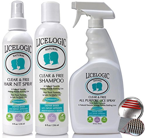 # 1 Lice Shampoo & Lice Treatment Kit - LiceLogic Natural, Safe, Hypoallergenic and Instant Head Lice & Nit Treatment Kit - 4 PRODUCTS - FAMILY SIZE - PESTICIDE FREE - Peppermint by LiceLogic