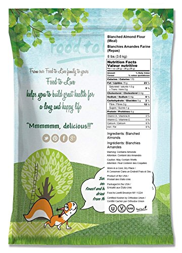 Blanched Almond Flour by Food To Live (Super Fine Grind Powder, Raw Skinless Almonds Meal, Kosher, Bulk) — 8 Pounds) by Food to Live  (Image #1)