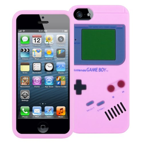 Game Boy Style Case for iPhone 5/5S - TPU Silicone Skin Cover (Pink)
