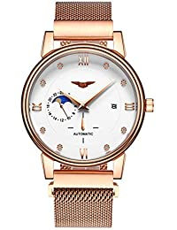 Mastop Men's Watch Gold 24 Hours Moon Phase Stainless Steel Mesh Strap Automatic Mechanical Watches