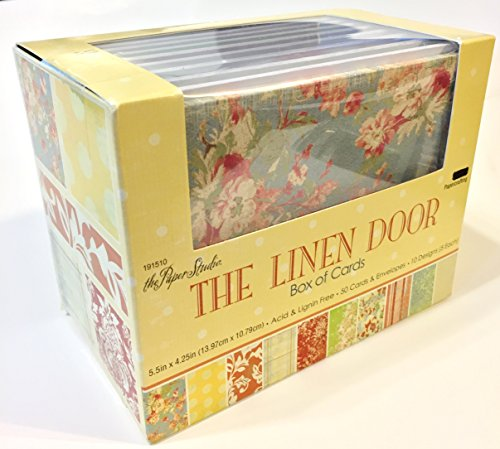 The Linen Door Box of Cards & Envelopes, Assorted Textured Designs, 50 Sets
