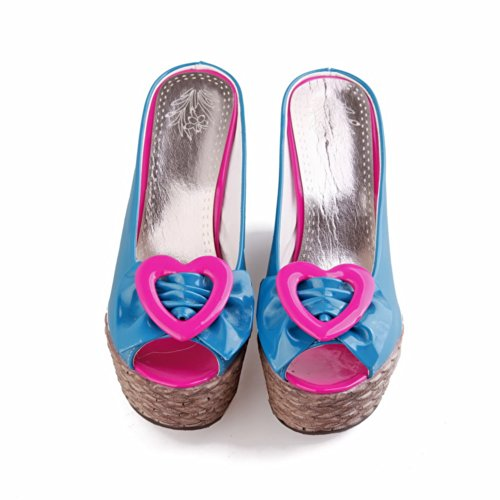 Bowknot Wedges Soft VogueZone009 with Womens Material UK Platform 4 Assorted Blue Toe Colors Peep Open 5 High Heel Sandals x16qgp608