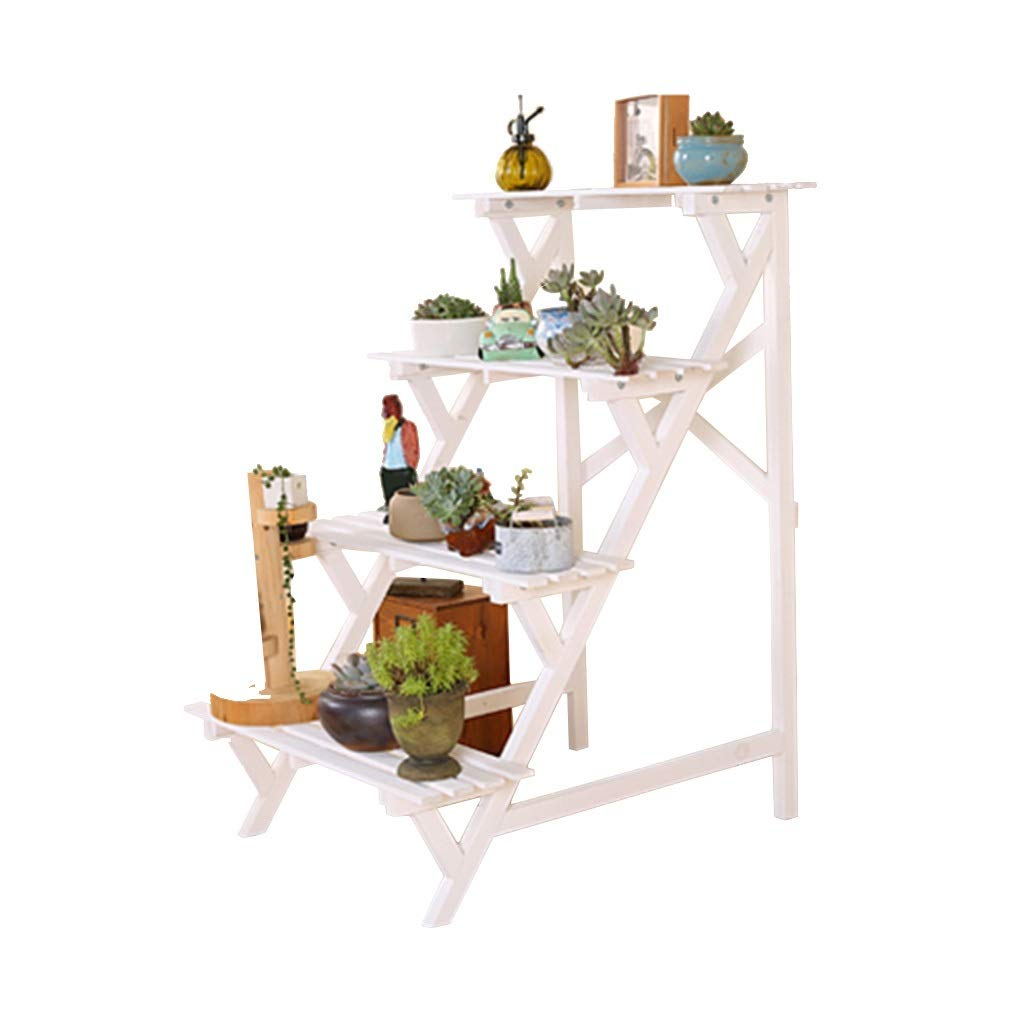 Flower Stand Plant Stand Creative Multi-Layer Solid Wood Rack Step Pot Rack Floor Indoor Balcony Plant Stand (Color : White, Size : 641894cm) by Flower Stand