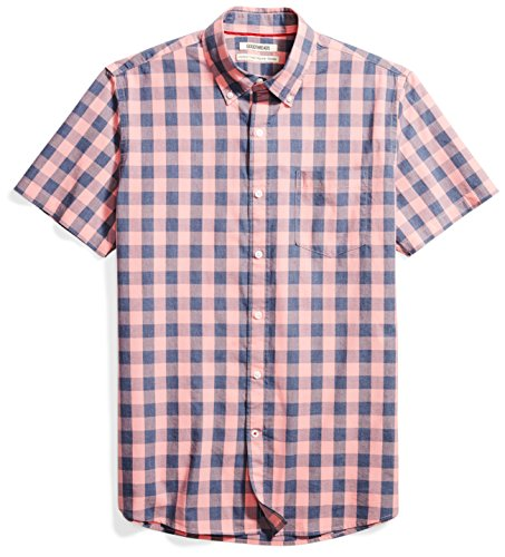 Goodthreads Men's Standard-Fit Short-Sleeve Heathered Scale Check Shirt, Pink/Blue, Large by Goodthreads
