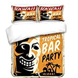 iPrint Duvet Cover Set,Tiki Bar Decor,Welcome To Hawaii Tropical Bar Party Retro Style Grunge Signboard Picture,Multicolor,Best Bedding Gifts for Family Or Friends