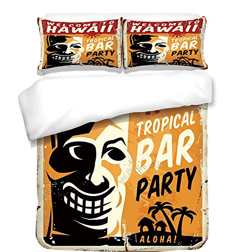 iPrint Duvet Cover Set,Tiki Bar Decor,Welcome To Hawaii Tropical Bar Party Retro Style Grunge Signboard Picture,Multicolor,Best Bedding Gifts for Family Or Friends by iPrint
