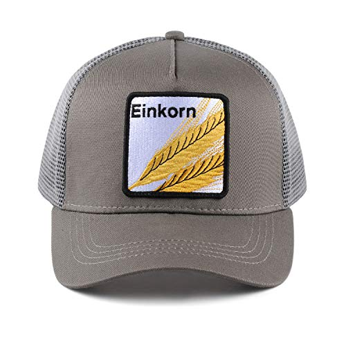 - Einkorn Embroidered Grey Snap Back Trucker Hat Adjustable 5 Panel Made for Baking and Grain Lovers