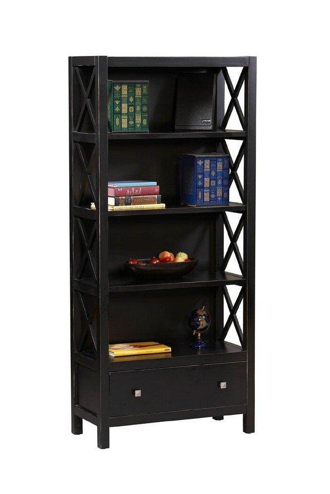Amazon.com: 4 Shelf Bookcase w Drawer in Antique Black Finish: Kitchen &  Dining - Amazon.com: 4 Shelf Bookcase W Drawer In Antique Black Finish