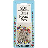 Collins COL108 200 Piece Assorted Glass Head Pins, 1-3/8""
