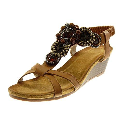 Incrociate Donna Slip Scarpe on alla 5 con Tacco cm Mules Angkorly Gioielli Zeppa Moda Sandali Cinghie Fantasia Caviglia Cinturino v84q6w