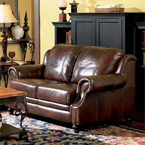 Coaster Home Furnishings Princeton Loveseat with Nail Head Trim - Loveseat Burgundy Leather
