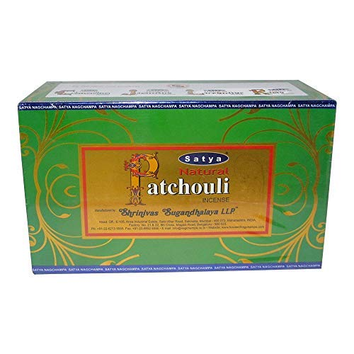 Satya Natural Patchouli Agarbatti Pack of 12 Incense Sticks Boxes, 15gms Each, Traditionally Handrolled in India, Candles with Natural Scent for Prayers Meditation, Yoga, Relaxation Positivity Healing (Sai Baba Best Pics)