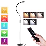 LED Floor Lamp, AVAWAY 9W Standing Lamp Dimmable Reading Lamp Eye-Caring Floor Light for Living Room, Office and Bedroom with Remote, Adjustable Gooseneck, 5 Brightness Levels, Touch Control, Energy Efficie