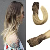 Googoo 18inches 7pcs 120g Ombre #6 Light Brown Fading to Bleached Blonde Ombre Full Head Remy Clip in Human Hair Extensions for Professional Hairstyle