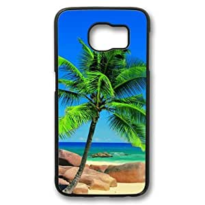 Beach Palm Tree Theme Samsung Galaxy S6 Case PC Material Black