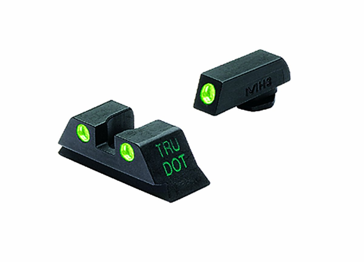 Meprolight Glock Tru-Dot Night Sight for 9mm, .357 Sig, .40 S&W . 45 GAP. Fixed Set. Green Rear Sight with Green Front Sight by Meprolight