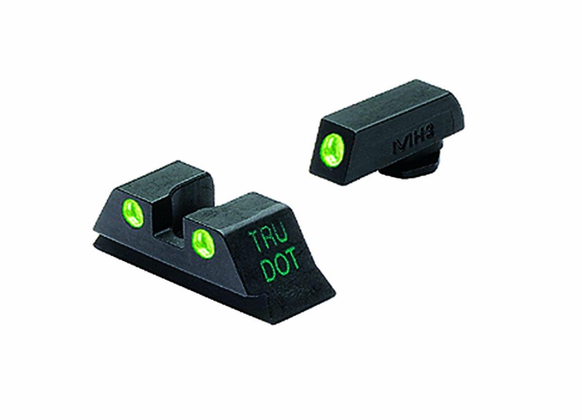 Meprolight Glock Tru-Dot Night Sight for 9mm, .357 Sig, .40 S&W . 45 GAP. Fixed Set. Green Rear Sight with Green Front Sight