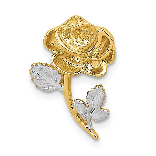 (14k Yellow Gold White Rose Necklace Chain Slide Pendant Charm Flower Gardening Fine Jewelry Gifts For Women For Her)