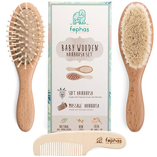 Fephas Wooden Baby Hair Brush and Comb Set| Eco friendly Hairbrush Kit for Newborn and Toddler Girl/Boy features Organic Soft Goat Hair- Natural Wood Bristles Baby Brush- Comb| Ideal for Baby (Girl Comb And Brush Set)