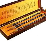 3pcs Top Pure Wolf hair Chinese calligraphy writing brush Ebony Stalk with Box