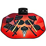 Costzon Electronic Drum Mat, 8 Keys Glowing Music Mat with LED Lights,MP3 Cable, Drumsticks, Support Play - Study-Record - Playback - Demo 5 Modes, Volume Control