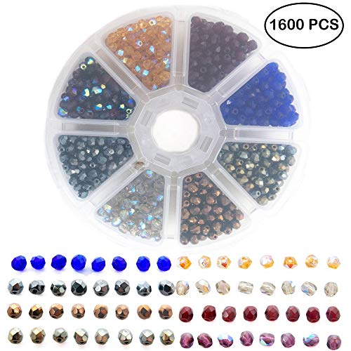 - Over 1600 AB Fire Polished and 4 mm Solid Czech Glass Faceted Beads for Jewelry Making for Adults - 8 Assorted Colors Bead Kit - Includes Free Glass Bead Stretch Choker for Inspiration