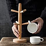Wood Tree Shape Mug Coffee Cups Drying Storage Rack Holder Home Kitchen Drain Hanger Organizer Stand with 6 Hooks,Square