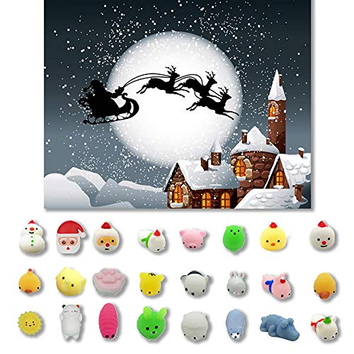 Wffo Slow Rising Squishy Toy, 24PCs Christmas Toys Mini Cute Squeeze Funny Toy Soft Stress Relief Toy DIY Decor -