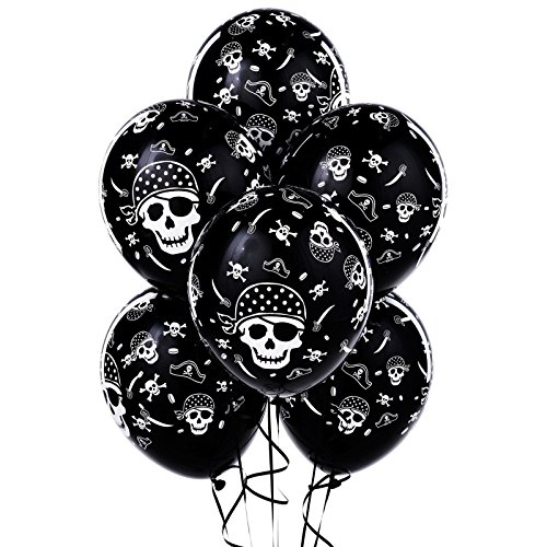 BirthdayExpress Pirate Party Supplies - Skull and Crossbones Latex Balloons (6) -