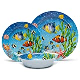 Melamine Dinnerware Set for 4, 12pcs Unbreakable Bowls and Plates Set, Service for 4, Dishwasher Safe, Lightweigjt, Sea Fish Pattern