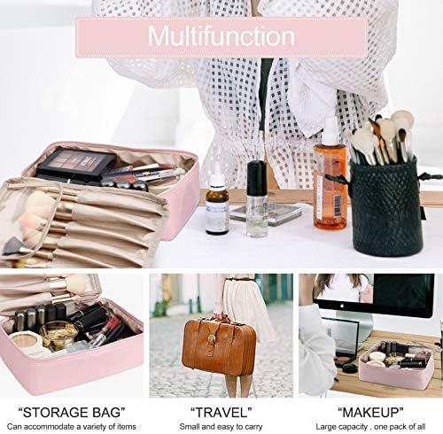 Pocmimut Makeup Bag Cosmetic Bag for Women Cosmetic Travel Makeup Bag Large Travel Toiletry Bag for Girls Make Up Bag Brush Bags Reusable Toiletry Bag(Pink)