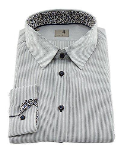 Diseño Slim Fit camisa para hombre de seda rosa negro 1/1-Arm no necesita planchado 01,229235 braun (0022)