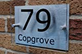 House Number Sign/Plaque Brushed Aluminium & AcrylicGOS03N--Personalised Sign