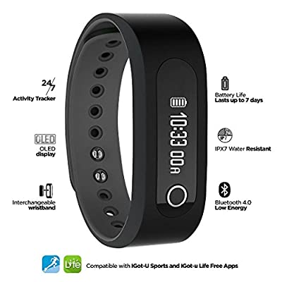 XINKSD Smart BT Bluetooth 4.0 Activity Tracker and Smart Watch with OLED Display, G Sensor, Sleep Tracker and Smart Notifications for iOS Devices & Android Devices