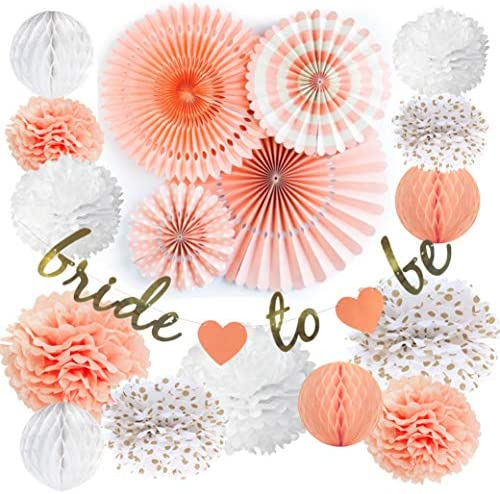 Vidal Crafts Bridal Shower Decorations Set, Bachelorette Party Décor, Bride to Be Banner, Dessert Table Decoration Kit, Wedding Celebration Supplies, Paper Fans, Pom Poms, Honeycomb Balls Pack