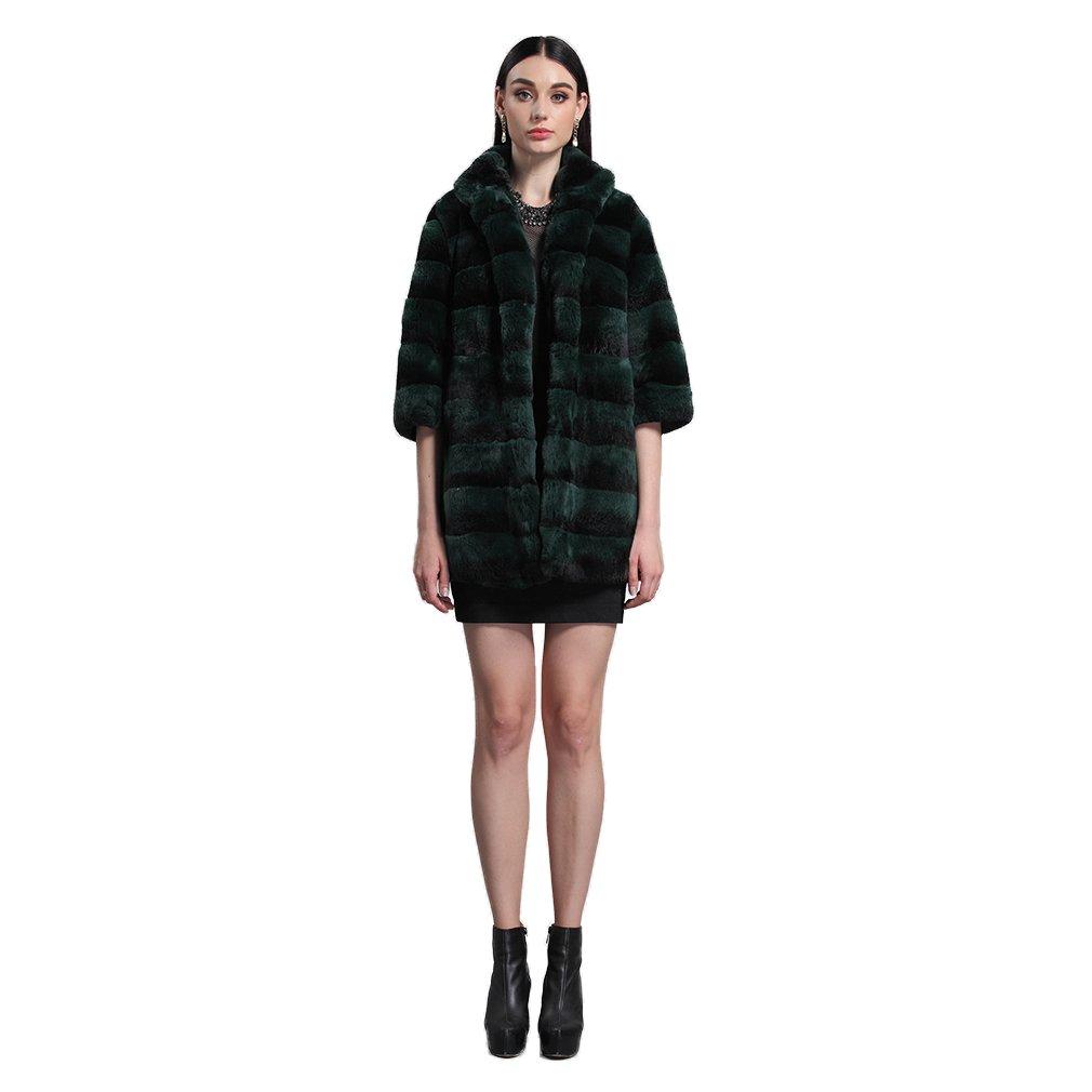 Fur Story 14176 Mujer Largo Real Piel de Conejo Rex Abrigo Verde 46: Amazon.es: Ropa y accesorios