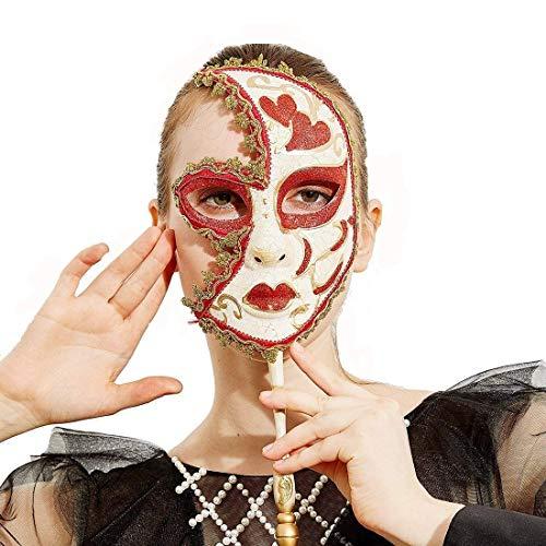 YUFENG Mardi Gras Mask Masquerade Hand Made Venice Italy La Maschera Del Galeon (Red) -