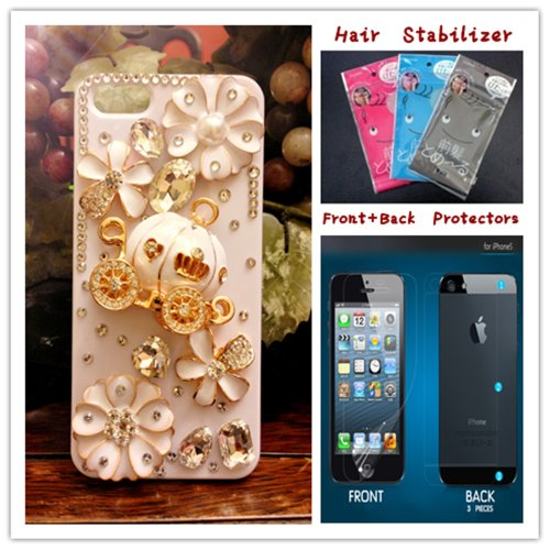 Wagon Crystal - FancyG® Elegant 3D Luxury Bling Crystal Diamond Cinderella's Pumpkin Cart Wagon Stone White Cover Case Fits for iphone 5 5S 4G