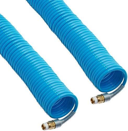 Legris Nylon 12 Self-Recoiling Hose Assembly with Brass Swivel Fittings, Blue, 5/16