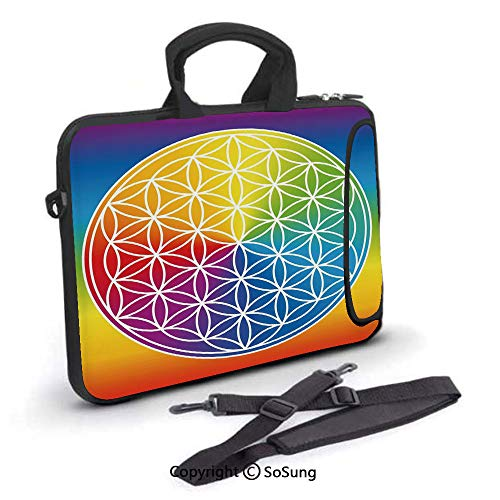 14 inch Laptop Case,Abstract Peace Flower Child Youth Radiant Rainbow Toned Spiritual Lifestyle Design Neoprene Laptop Shoulder Bag Sleeve Case with Handle and Carrying & External Side Pocket,for Netb