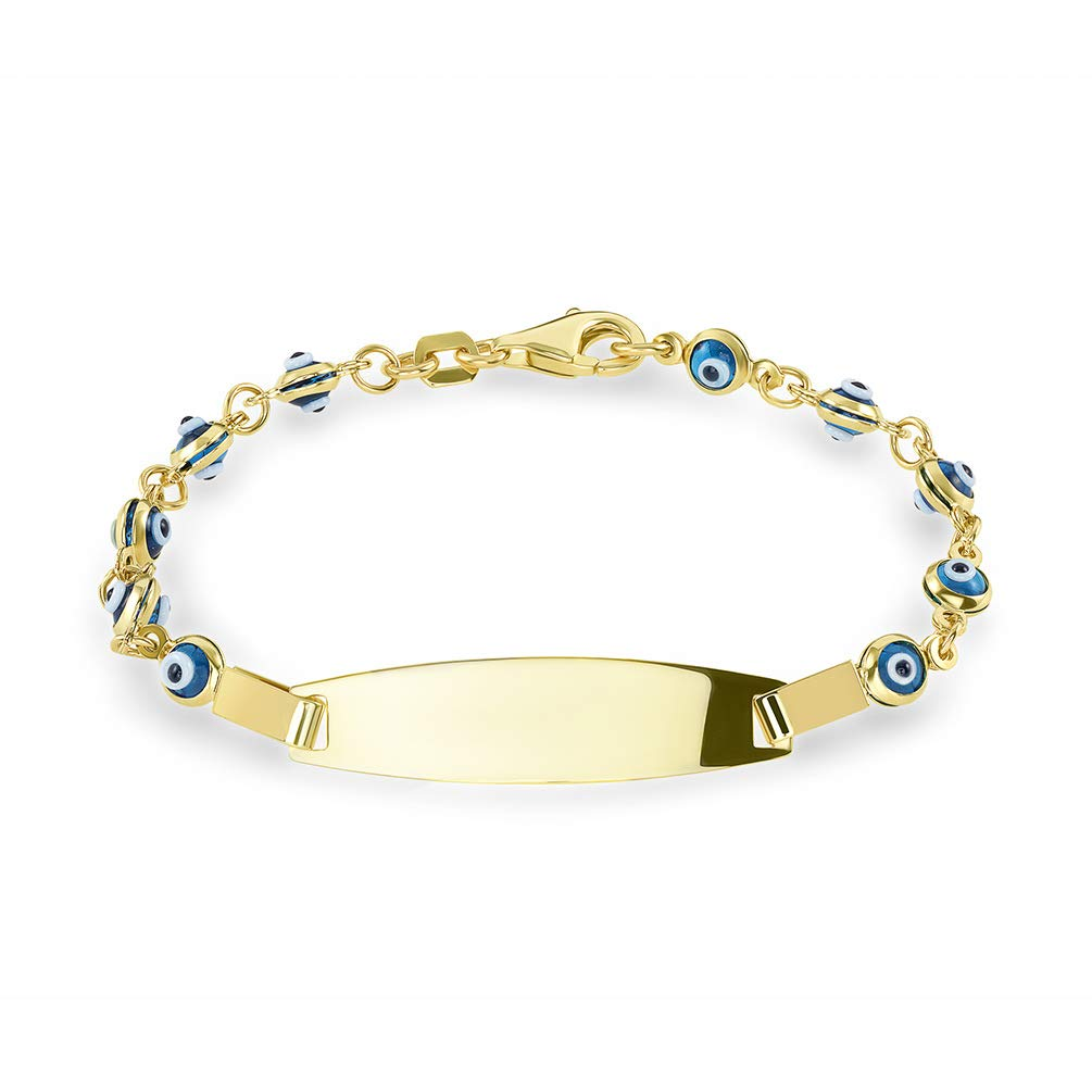 14k Yellow Gold Blue Mini Evil Eye Protection ID Bracelet with Lobster Clasp, 6''
