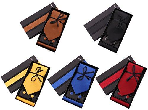 Gift Necktie (Driew Mens Tie Gift Necktie Handkerchief Cufflinks Set for Wedding Party Business,5 Colors)