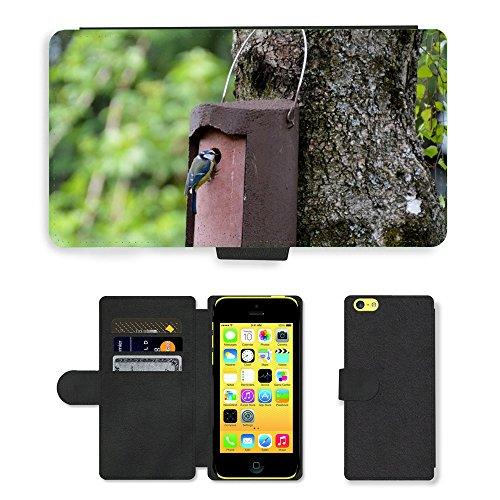 Just Phone Cases PU Leather Flip Custodia Protettiva Case Cover per // M00127438 Plume Mésange bleue Oiseau Lieu de // Apple iPhone 5C