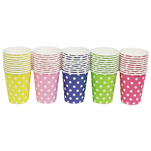 Party Disposable Cups, Paper Cups For DIY,Weddding & Party Cups 8oz (Multicolor Dot 50pcs)