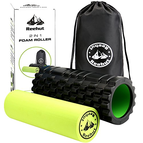 Reehut 2-in-1 Foam Roller. Trigger Point massage for Painful, Tight muscles + Smooth Rollers for Rehabilitation! FREE USER E-BOOK + FREE CARRY CASE! Black